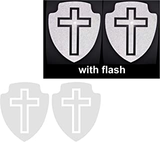 2x Small White Reflective Shield Cross Sign Christian Safe Safety Lucky Praying Logo Bumper PVC Vinyl Sport Laptop Fridge Motorcycle Bike Racing Car Decal Decals Badge Sticker Door Window Tailgate Truck Trunk Side Rear Emblem Mac Phone Mobile