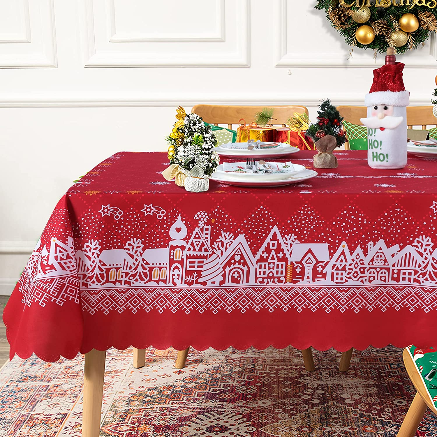 Fitable Christmas Tablecloth New Year's House Deco Many popular brands Eve Louisville-Jefferson County Mall Snowflake