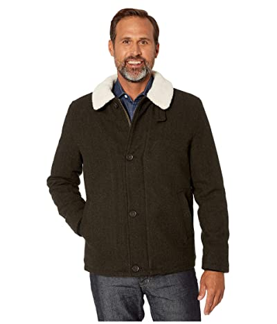 Cole Haan Tumbled Wool Button Front Jacket w/ Faux Sherpa Collar (Olive) Men