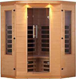 Canadian Spa Company Aspen 4-Person FIR Corner Sauna with 7 Carbon Far Infrared Heaters, Bluetooth and LED Chromotherapy Lighting