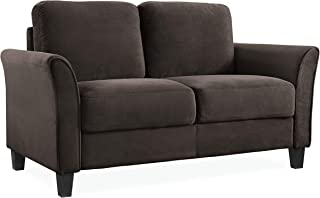 Lifestyle Solutions Wen Austin Curved-Arm Loveseat, Coffee