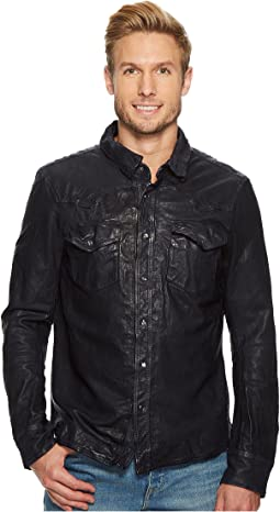 Washed Leather Western Overshirt