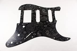 Brushed Black Anodized Aluminum Engraved Paisley HSS Strat Pickguard- Fits Fender Stratocaster