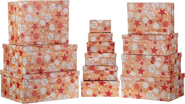 13er Set Brandsseller Madera//Estrella Helada Papel Caja de cart/ón con Tapa 13 Unidades dise/ño navide/ño