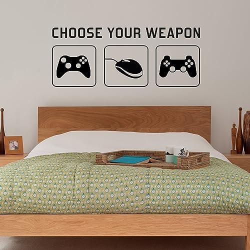 UK Gamer Vinyl Wall Stickers Video Game Play Room Joystick Kids Decals Decor sam
