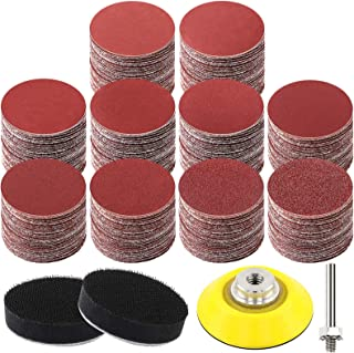 HongWay 300pcs 2 Inches Sanding Discs Pad Kit for Drill Grinder Rotary Tools with Backer Plate Shank and Soft Foam Bufferi...