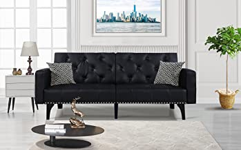 Modern Tufted Bonded Leather Sleeper Futon Sofa with Nailhead Trim in White, Black (Black)