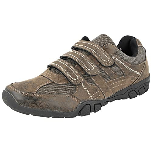 CW Cushion Walk Mens LS14 Brown Faux Leather Triple Touch Close Straps  Lightweight Trainers Casual Shoes 559fc880f