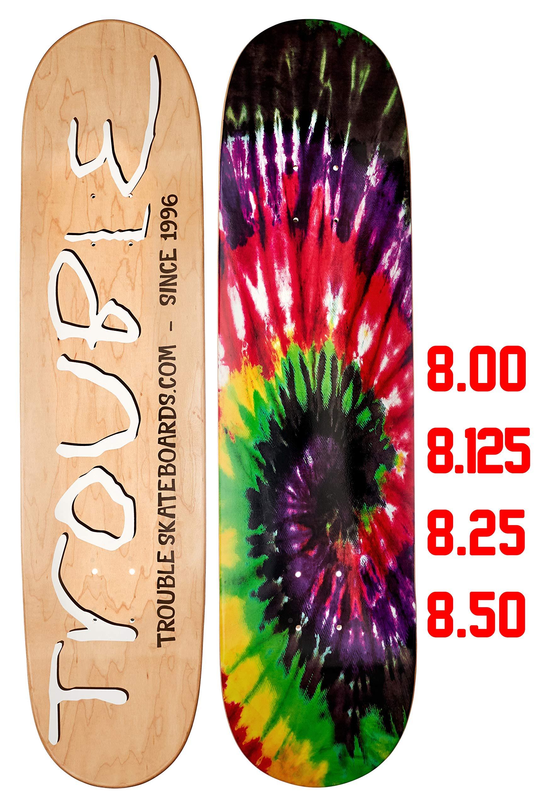 D20 TROUBLE SKATEBOARDS Tie Dye Skateboard Deck 8.0 8.1 8.25 8.50 North American Maple Professional Decks