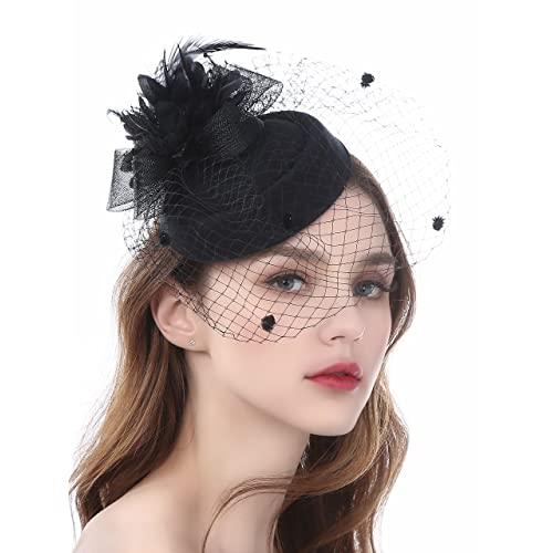 Zivyes Fascinator Hats for Women Pillbox Hat with Veil Headband and a  Forked Clip Tea Party 4d05f5f30fb