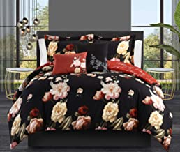 Chic Home Enid 5 Piece Reversible Comforter Set Floral Print Cursive Script Design Bedding - Decorative Pillows Shams Incl...