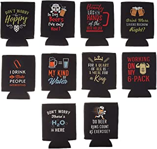 Avery Barn 10 Pack Funny Quotes Neoprene Insulated Beer Can Sleeve Covers