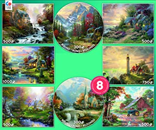 Ceaco 8-in-1 Multipack Puzzles by Thomas Kinkade - (2) 300 Pieces, (4) 550 Pieces, (1) 750 Pieces, (1) 1000 Pieces