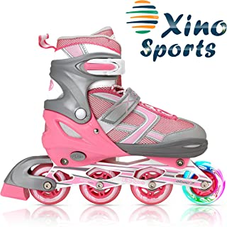 XinoSports Adjustable Inline Roller Skates - Featuring Light Up Illuminating Wheels, for Girls and Boys Ages 5-20; 1 Year Warranty
