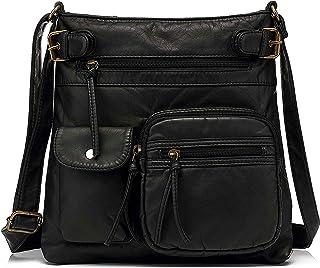 Scarleton Multi Pocket Crossbody Bag for Women, Ultra Soft Washed Vegan Leather Shoulder Purse, H183301, Black L