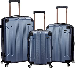 Luggage 3 Piece Abs Upright Luggage Set, Blue, Medium