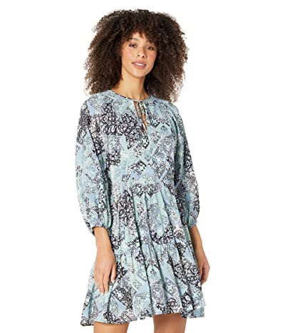 Calvin Klein Printed Tiered Rayon Challis Dress Women