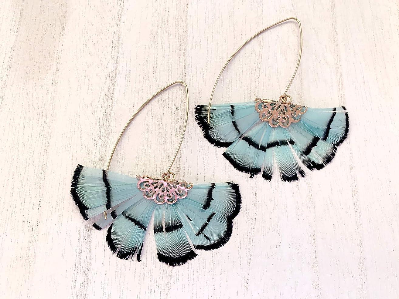 Gold Feather Earrings, Mint Feather dangle Earrings, Oriental Gold Feather Hoop Earrings, Statement Earrings Hero, Statement Jewelry