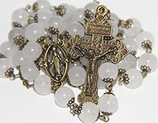 Large White Jade and Bronze 10mm 5 Decade Bead Rosary made in Oklahoma
