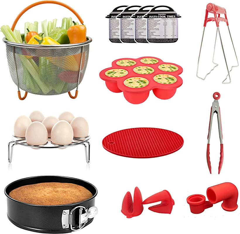 Maysa 14 Pcs Instant Pot Accessories Set Steamer Basket Spring Form Pan Egg Bites Mold Kitchen Tongs Mitts Silicone Mat Magnet Cheat Sheet Compatible With 5 6 8 Qt Pressure Cookers