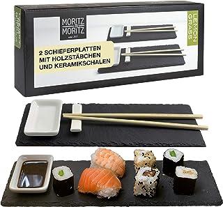 Moritz & Moritz Sushi Platte Schiefer mit Dipschalen