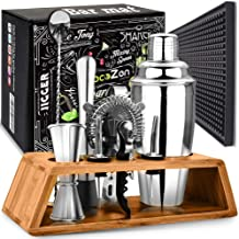 Cocktail Shaker Set with Bar Mat | Bartender Mixing Tool Kit with Elegant Wooden Stand | Premium Bar Set | Best Gifts Idea...