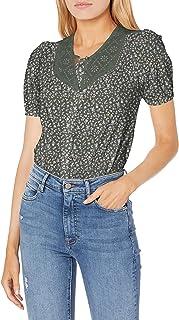 Lucky Brand womens Short Sleeve Eyelet Yoke Button Down Knit Blouse Blouse