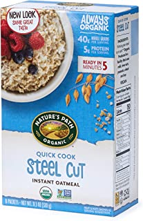 Sponsored Ad - Nature's Path Organic Instant Oatmeal, Quick Cook Steel Cuts Oats, 48 Packets (Pack of 6, 11.3 Oz Boxes)