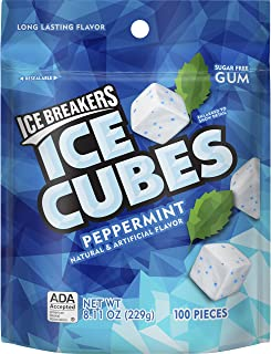 ICE BREAKERS ICE CUBES Sugar Free Gum, Peppermint, 100 Pieces, 8.11 Oz