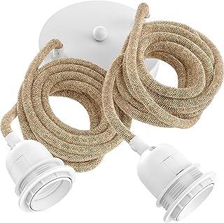 Hoopzi - Hang 2 - Suspension Luminaire 2 Ampoules - Lustre Plafonnier pour Salon, Chambre, Cuisine - 2,5 Mètres - 2 Douill...