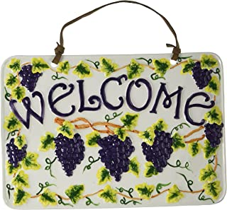 CASAVERO Amadora White Grape Wall Plaque Welcome Sign