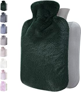 Hot Water Bottle with Soft Cover - 1.8L Large - Classic Hot Water Bag for Pain Relief, Neck and Shoulders, Feet Warmer, Me...