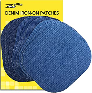 ZEFFFKA Premium Quality Denim Iron on Jean Patches No-Sew Shades of Blue 9 Pieces Assorted Cotton Jeans Repair Kit 4-1/4