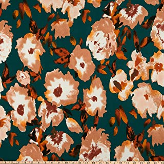 Fabric Merchants Double Brushed Poly Jersey Knit Watercolor Floral Hunter/Mocha Fabric