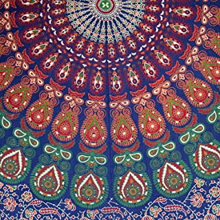 Handmade Cotton Sanganer Peacock Floral Tablecloth Rectangular 60 x 90 inches Red Off White Orange Green Blue