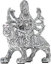 Carat Cafe Maa Durga Sherawali Ma Ambe MATA Idol Pure Silver 999 Statue,BIS Hallmark Certified for Puja Temple Good Luck G...