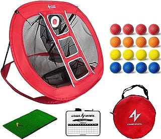 یک شبکه ورزشی گلف تراشه های گلف Pop Up شبکه خردکن گلف با حصیر - تورهای تمرین گلف برای حیاط خانه | لوازم جانبی گلف داخل و خارج از منزل برای دقت تراشکاری