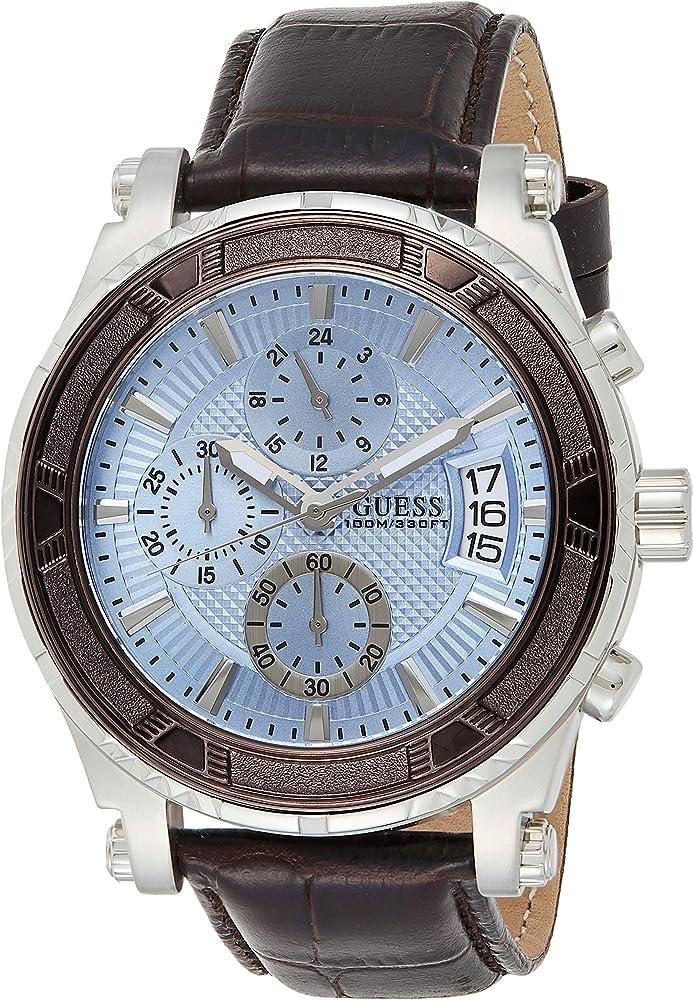 Guess orologio cronografo in  acciaio inossidabile e cinturino in pelle W0673G1