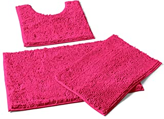LuxUrux Bathroom Rugs 3pc Set (Curved 3pc Set, Hot Pink)