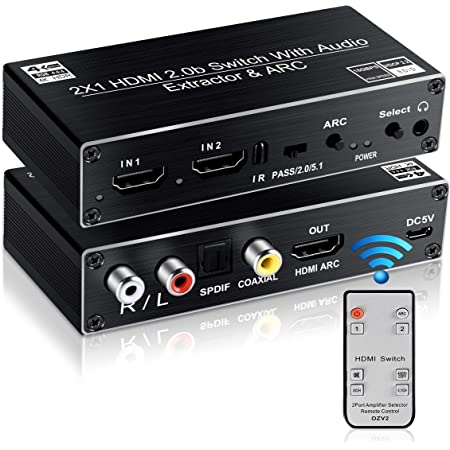 avedio links HDMI Switch Audio Extractor, HDMI Switch Splitter 2 Inputs 1 Output with Remote 4K@60hz, 2-Port HDMI2.0b Switcher Box with Optical Toslink SPDIF+Coaxial+Analog RCA Stereo Audio Out