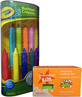 Bath Fun with Crayola Bathtub Crayons and Johnson's Kids Easy-Grip Sudzing Bar Bundle. 2 Items: Crayons and Soap