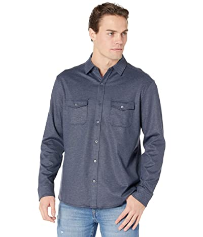 Johnston & Murphy Button Front Knit Shirt (Navy) Men