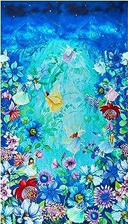 Timeless Treasures Digital Fairy Fantasy 24'' Panel Flora & Fairy Aqua Fabric