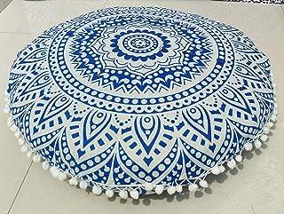 INDIAN CRAFT CASTLE Funda de almohada grande para el suelo, diseño de mandala barmeri, 61 cm, color azul