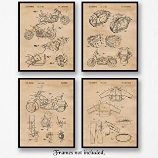 Original Harley Davidson Patent Poster Prints, Set of 4 (8x10) Unframed Photos, Wall Art Decor Gifts Under 25 for Home, Office, Man Cave, College Student, Teacher, Coach, American Motorcycles Fan