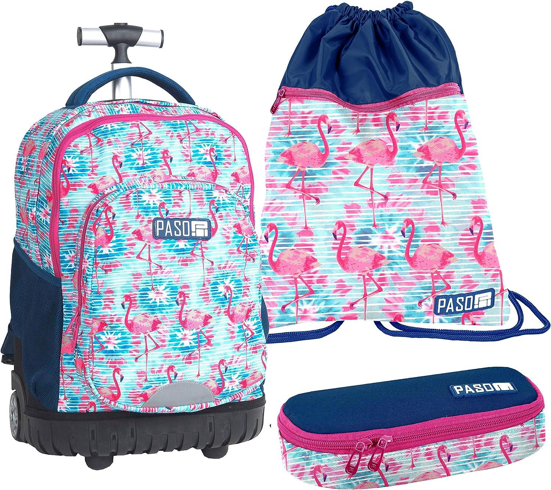 Paso Flamingo, Set Groer Rucksack mit XXL-Trolley Rdern, Koffer, Sporttasche, Mittelschule, Grundschule, Girl Boy
