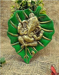 Metal Ganpati Wall Hanging Lord Ganesha on Leaf for Living Room Home Decoration (19 cm, Green)