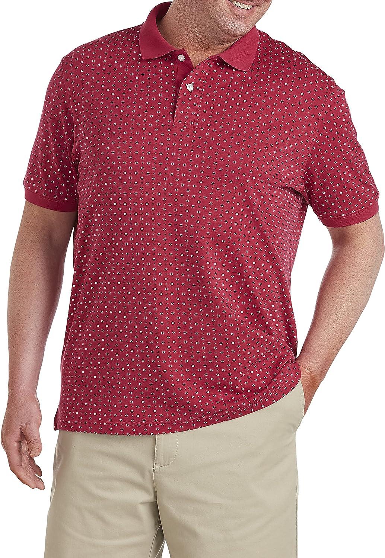 Harbor Bay by DXL Big and Tall Circle Print Polo Shirt, Red Multi