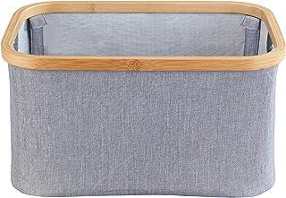 WENKO 62219100 Panier à rangement Bahari pliable, 20 l, Bambou, Gris, 38 x 26 x 20 cm
