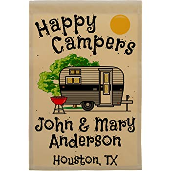Happy Campers Personalized Camping Flag, Vintage Travel Trailer and Campsite Customized with 3 Lines of Custom Text, Black and Gray Camper on Tan Fabric
